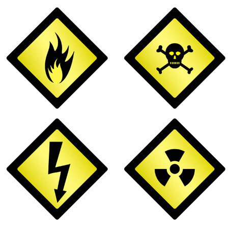 Set of danger symbols on white background Vector