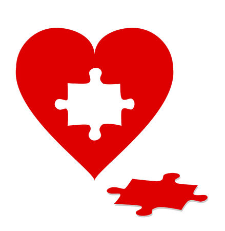 Jigsaw puzzle with red heart isolated on white background Vector