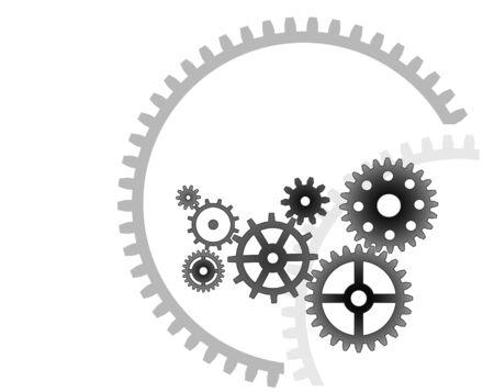 gearshift: Various cogwheels, industrial background Illustration