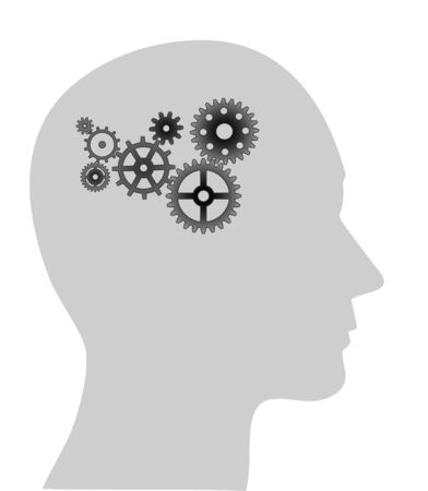 judgement: Illustration of cogs or gears in human head
