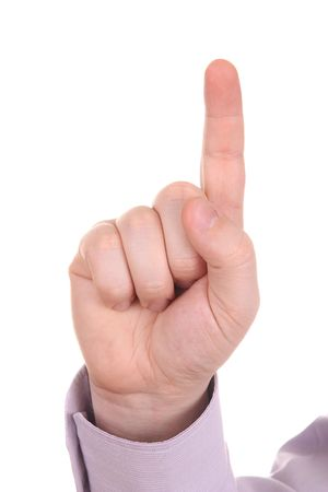 Businessman index finger isolated on white background Stock Photo - 4693394