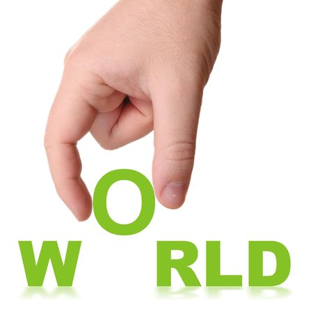 Hand and word World - business concept (isolated on white background) Stock Photo - 4693401