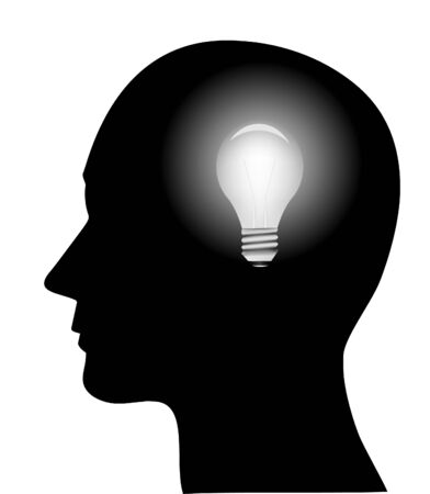 man side view: concept of a bright idea, invention, inspiration