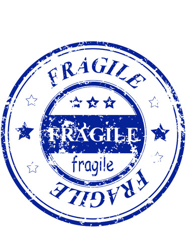 rubber office stamp with the word fragile