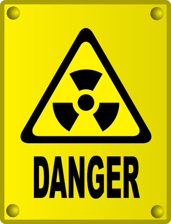 Radioactive sign on yellow metal board Vector