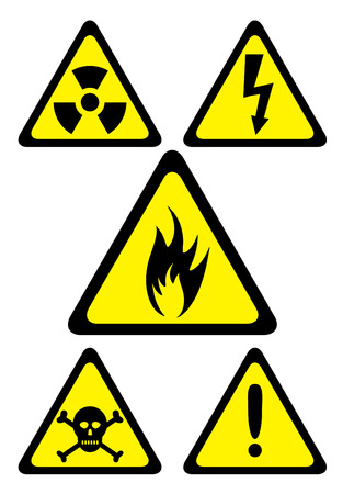 Set of danger symbols