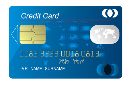 Blue credit card vector, highly detailed Vector