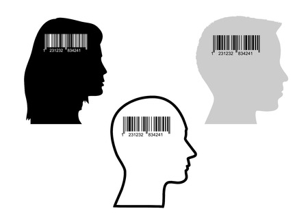 Illustration of bar-code and heads, concept of consumerism Vector
