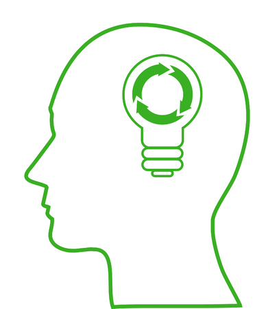 Illustration of bulb with ecology symbol in human head, vector Vector