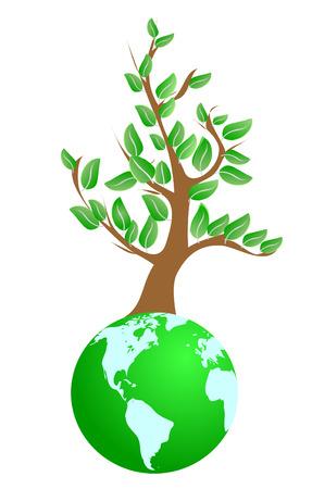 Illustration of tree on green planet Vector