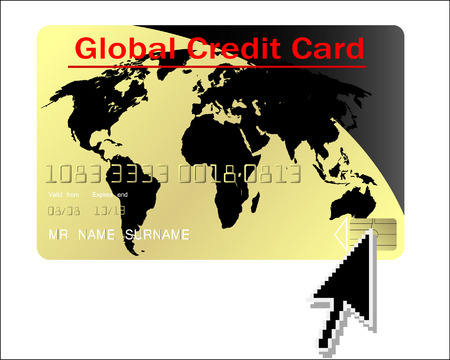 Global credit card vector with computer cursor Stock Vector - 4821367