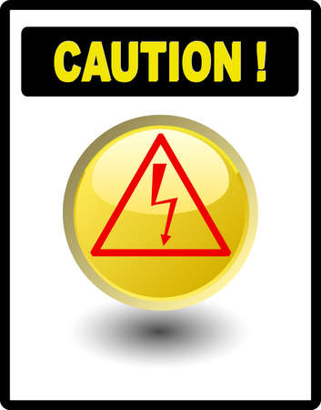 Caution sign - high voltage in black frame Stock Vector - 4821286