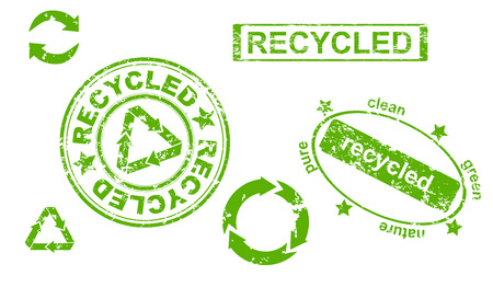 recyclable waste: Set of grunge recycled symbols and stamps Illustration