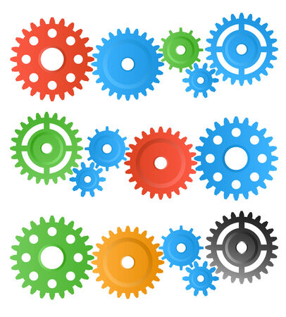 meshed: set of colourful gear wheels isolated on white Illustration