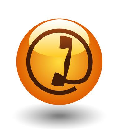 Phone icon, symbol on a glass button, vector Векторная Иллюстрация