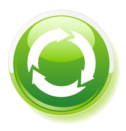 Recycling symbol icon on green button, vector Stock Vector - 4847097