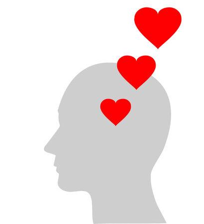 Illustration of red heart symbol in human head, vector