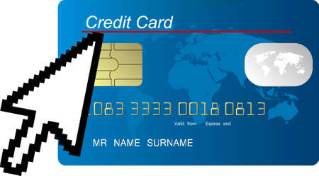 blue credit card vector with computer cursor Vector