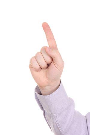 Businessman index finger isolated on white background photo