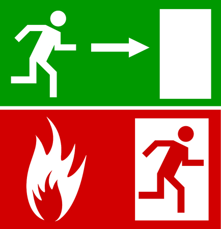 depart: Emergency fire exit door and exit door, sign with human figure Illustration