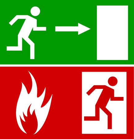 sortir: Porte de sortie de secours incendie et porte de sortie, de signer avec la figure de l'homme Illustration
