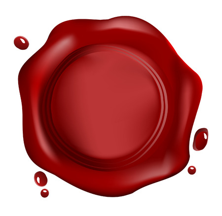 wax stamp: Red wax seal vector Illustration