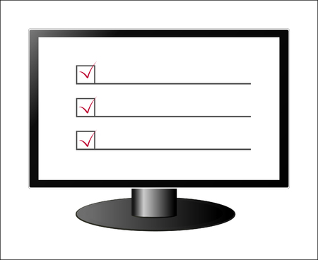 electronic voting: Monitor screen with check-list and marks and copy space Illustration