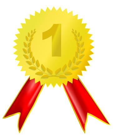 primer lugar: la medalla de oro con la cinta roja Vectores