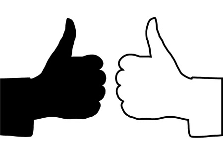 thumbs up icon: Vector illustration of OK hands, black & white