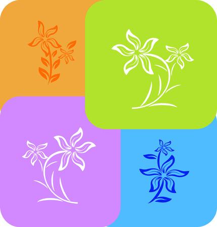 set of flower background different color Vector