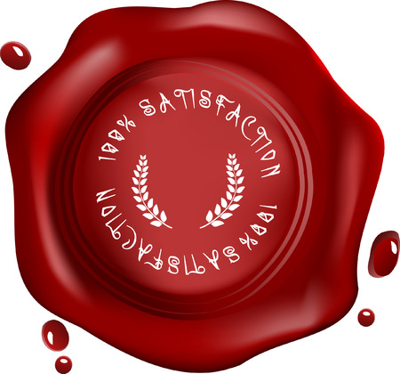 royal mail: wax seal with text: satisfaction and laurel Illustration