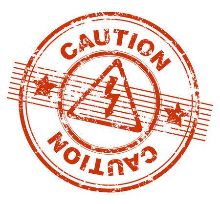 voltage danger icon:  grunge rubber stamp with the text caution