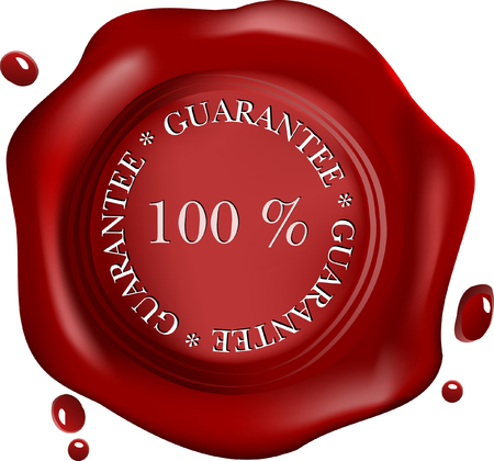wax seal with text: satisfaction Vector