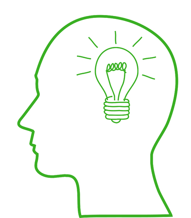 Human head with green ligh bulb, ecology concept