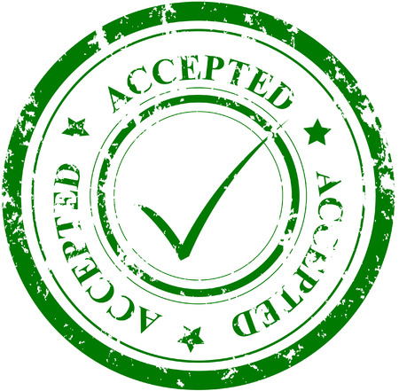 inspeccion: Grunge con sello y marca de palabra ACEPTAN