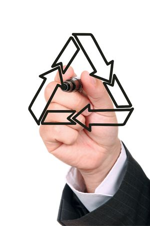 Businessman drawing recycling symbol on the whiteboard Stock Photo - 4952898