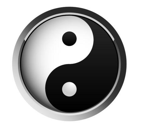 yin and yang, - taoist web button Stock Vector - 4953002