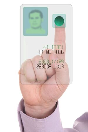 privileged: Man entering the door or secure data by touch screen