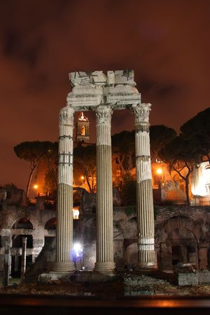 Ancient Rome in the famous historical site of the Roman forum photo