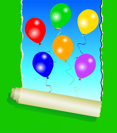 plied: Six colourful party balloons under green ripped wall paper