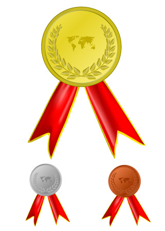 vector gold, silver and bronze award ribbons Vector