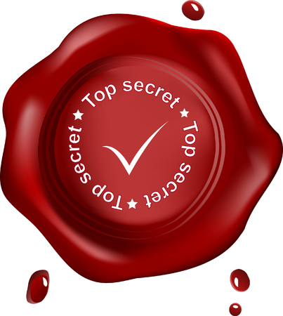 Red wax seal ,vector,top secret with mark Vector