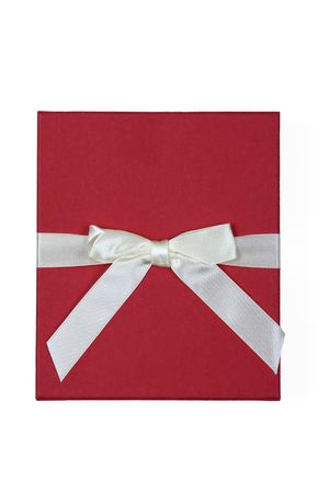 red gift with white bow isolated on white background Stock Photo - 5121895