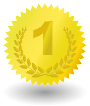 Golden medal with laurel  Vector