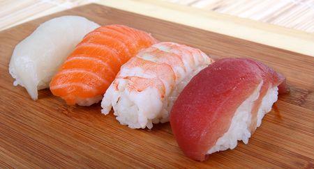 Set of sushi , laying on wooden desk Stock Photo - 5162302