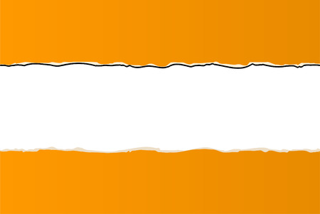 plied: orange ripped wallpaper on white background