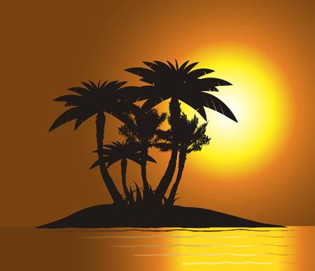 Puesta de sol en la isla con la silueta de Palm Ilustración de vector