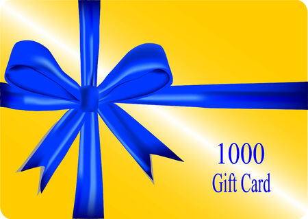 prepaid: gold gift card with blue ribbon, vector