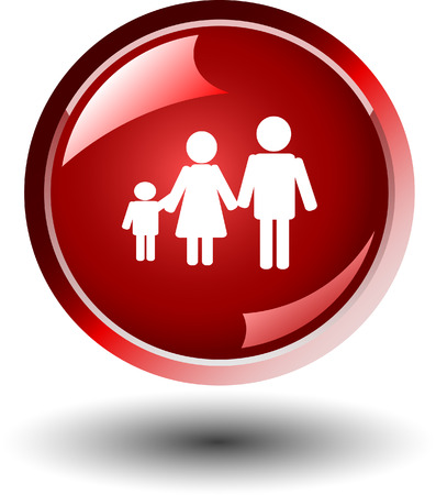 symbol woman: Web button with family symbol Illustration