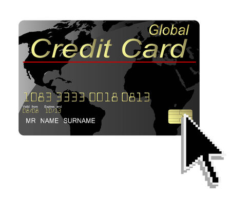 Black credit card vector with computer cursor Vector
